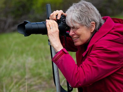 Sue Anderson capturing nature. Photo: Gary Miller.