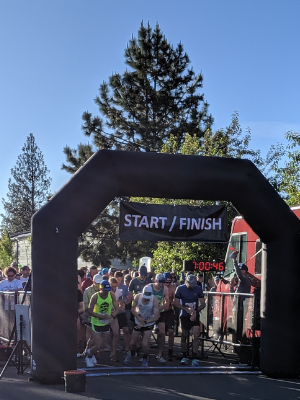 Runners start the Dirty Half in 2019. Photo: Jack Bremer.
