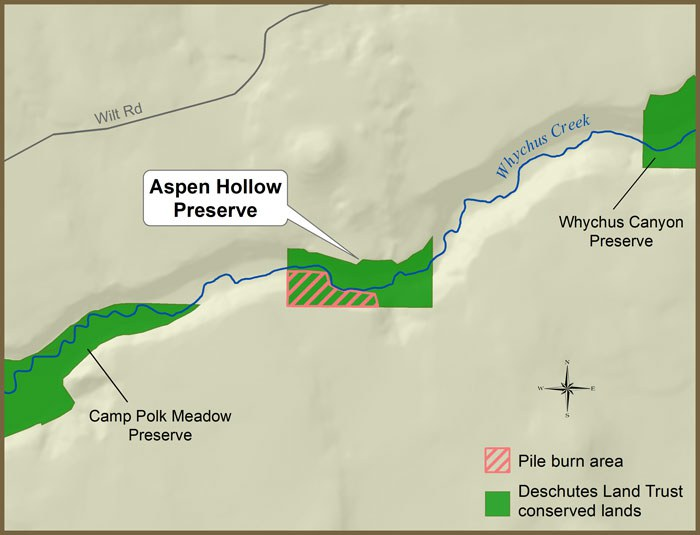 This map shows the location of pile burning at Aspen Hollow Preserve. Map: Deb Quinlan.