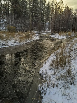 Icy Whychus Creek. Photo: Kris Kristovich.