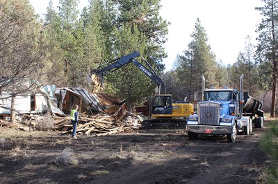 Structure removal at Aspen Hollow. Photo: Land Trust.