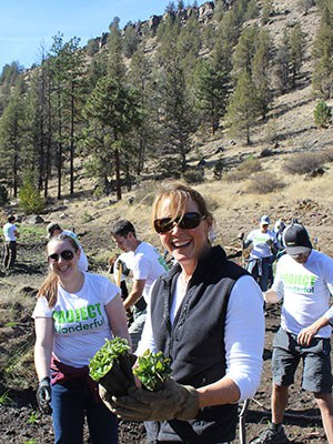 Volunteers help re-plant the creek restoration area at Whychus Canyon Preserve. Photo: Land Trust.