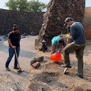 Museum at Warm Springs staff and Land Trust staff help plant a new monarch garden. Photo: Land Trust.