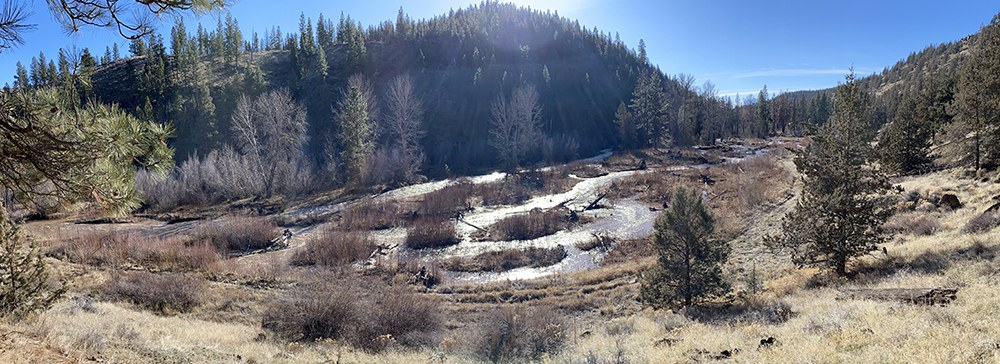The Whychus Canyon Preserve restoration area during a high flow event in mid-January 2021. Photo: Mathias Perle, Upper Deschutes Watershed Council.