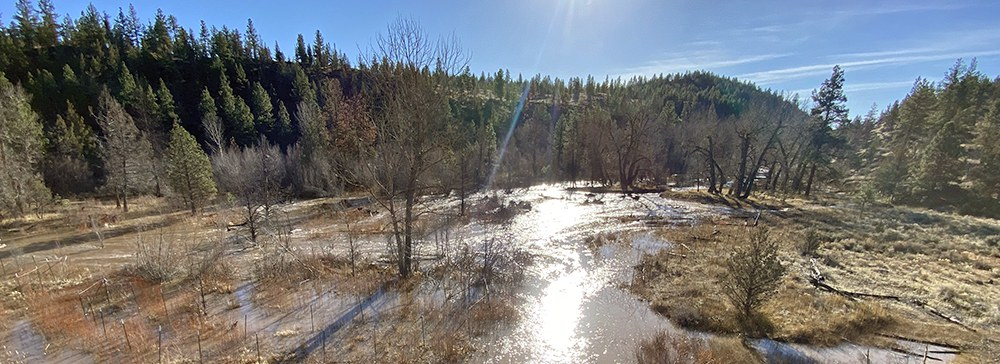The Whychus Canyon Preserve restoration area during a high flow event in mid-January. Photo: Mathias Perle, Upper Deschutes Watershed Council.