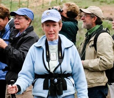 Norma Funai leading a bird walk at Rimrock Ranch in 2008. Photo: Brian Ouimette.
