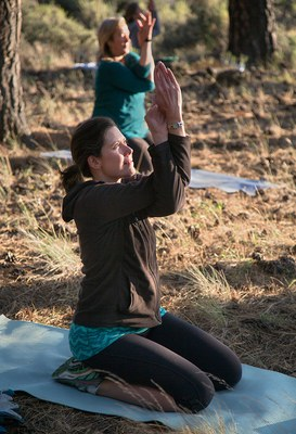 Tree yoga at Indian Ford Meadow Preserve. Photo: Jay Mather.