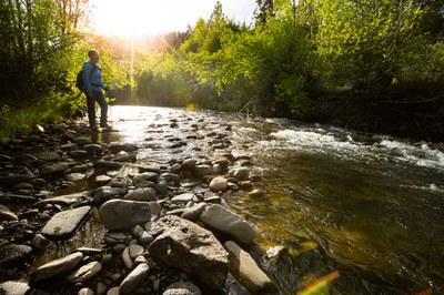 Hiker along Whychus Creek. Photo: Tyler Roemer.
