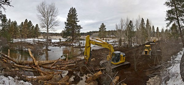 Whychus Creek in 2012 as it was redirected back into Camp Polk Meadow. Photo: Jay Mather.