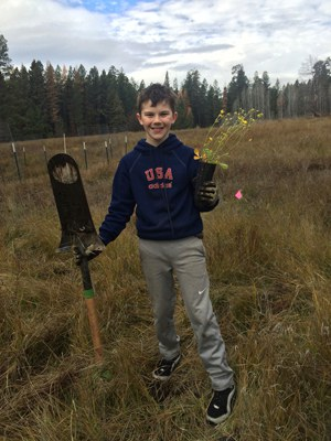 A young volunteer helps plant at Spring Creek. Photo: Land Trust.