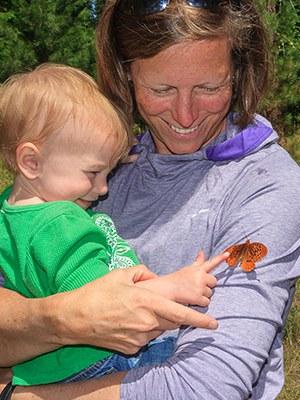 Exploring butterflies at the Metolius Preserve. Photo: Sue Anderson.