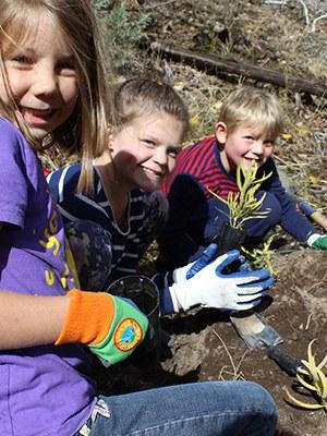Planting milkweed at Whychus Canyon Preserve. Photo: Land Trust.