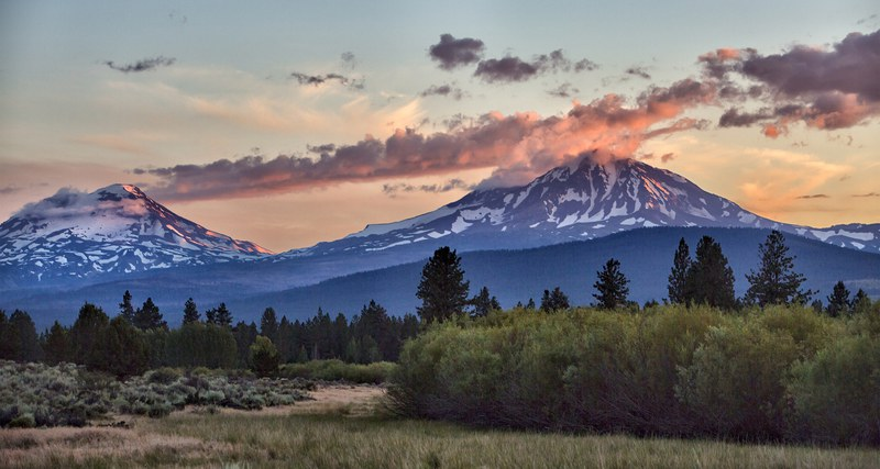 Sunset on the Three Sisters from Indian Ford Meadow. Photo: Jay Mather.