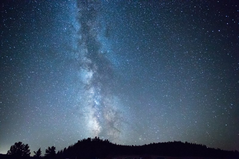 Milky Way galazy and stars over Rimrock Ranch at a summer Star Party. Photo: John Williams.