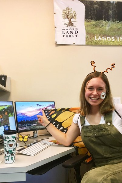 Sophie gets excited for butterflies! Photo: Land Trust.