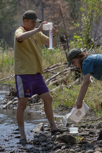 Students monitor stream quality and test for pollutants at Whychus Canyon Preserve. Photo: Jay Mather.