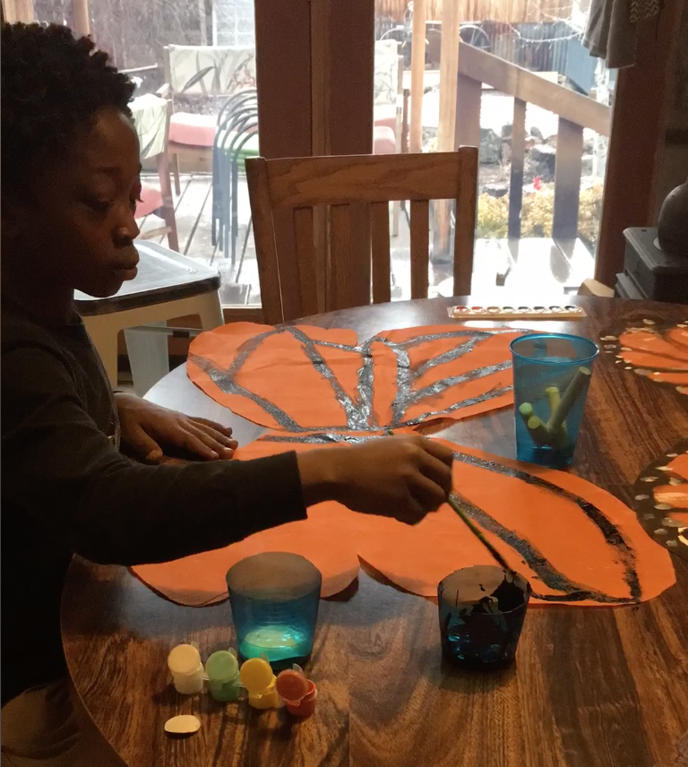 Making monarch wings is the perfect at home activity! Photo: Land Trust.