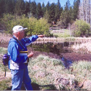 Norma Funai leads a tour at Camp Polk Meadow Preserve in 2002. Photo: Land Trust.
