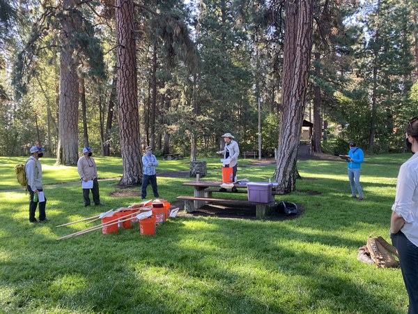 Organizational partners gathered in Sisters to learn and prepare for a day surveying macros in Whychus Creek. Photo: Land Trust.