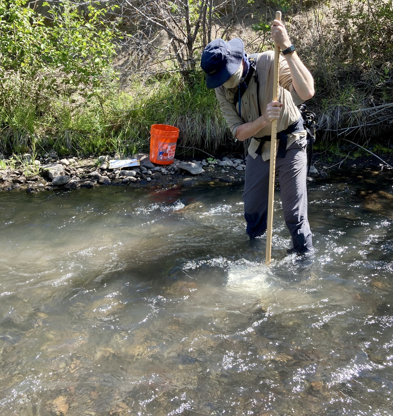 Mathias from the Upper Deschutes Watershed Council holds our net in the water to collect a sample. Photo: Land Trust.