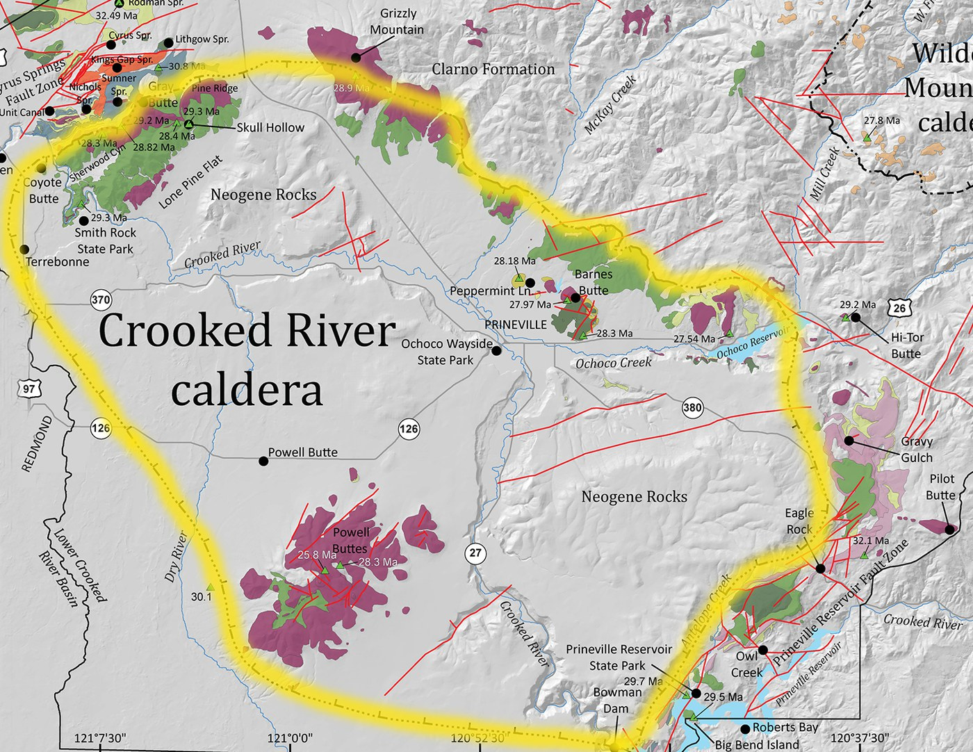 The boundaries of the Crooked River Caldera, highlighted here. Graphic: J.D. McClaughry, from Field Trip Guide to the Oligocene Crooked River caldera: Central Oregon's supervolcano, Crook, Deschutes, and Jefferson Counties, Oregon.