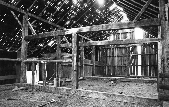 The inside of the Hindman Barn in 1972. Photo: Ed Barnum.
