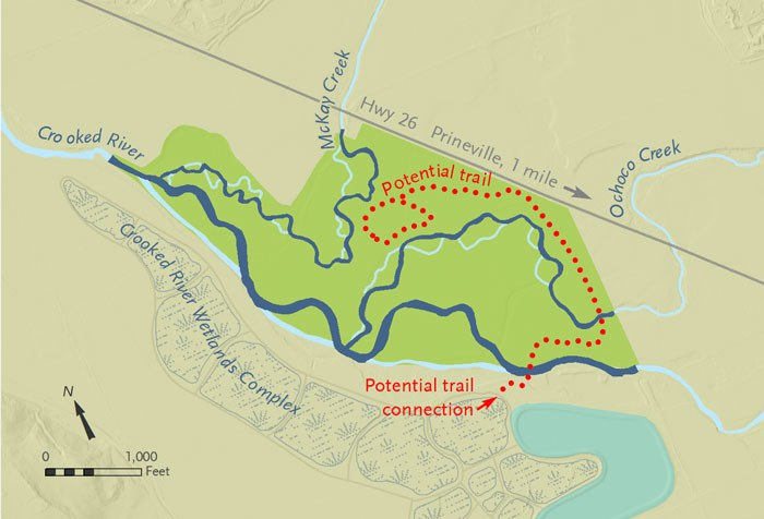 Ochoco Preserve (bright green area of map) with conceptual restored portions of waterways (dark blue). Map: Deb Quinlan.