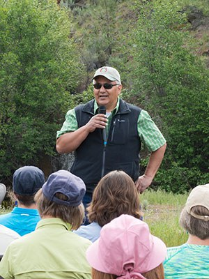 Robert Brunoe, General Manager of Natural Resources and Tribal Historic Preservation Officer for the Confederated Tribes of Warm Springs, speaks at the 2015 dedication of Whychus Canyon Preserve. Photo: Blake Boyd.